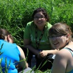 Three of the Eskasoni team in the soil pits. (L-R) Keisha GooGoo, Sarah Bernard and Raylene Nicholas.
