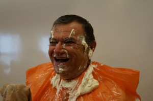 Chief Rufus Copage is a good sport after a pie in the face.