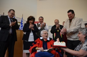 As part of the celebrations, Dr. Elsie Charles Basque had the opportunity to blow out the candles to recognize her 97th birthday. On hand for the special occasion were Indian Brook Chief Rufus Copage, Acadia Chief Deborah Robinson, Glooscap Chief Sidney Peters, CMM Executive Director Don Julien, Bear River Chief Frank Meuse and presenting the cake was Elsie's daughter Marty.