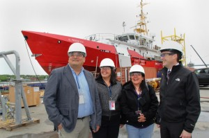 Touring Irving Shipyard- (L-R) Alex Paul, Director of Training, Nova Scotia Aboriginal Employment Partnership, Norma Guerin, Executive Director First Nations Employment Society in Vancouver, Lucinda Philips, Chief Lil'wat First Nation in BC, and Steve McAloon, Vice President Irving Shipbuilding.