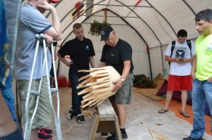 Gerald Toney of Annapolis Valley demonstrates traditional basket making at an MCG Black Ash Workshop.
