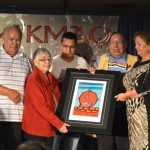 Long time Treaty Day Committee member Nancy Paul was honoured to be acknowledged for her work for the past 27 years on the committee. Pictured from left are John and Nancy Paul, Chief Wilbert Marshall, Grand Chief Ben Sylliboy, Treaty Day Coordinator, Deborah Ginnish and UNSI Executive Director, Joe B. Marshall.