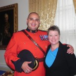 Steve Gloade and Tanya MacVicar, Mi'kmaq History Month Project Officer take part in the Lieutenant Governors Reception and Flag Raising Ceremony held at Government House.