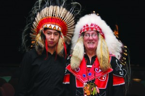 (L-R) Youth Chief Arnold Doucette and Chief Terry Paul at Treaty Day Celebrations in Membertou.