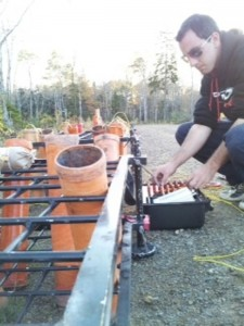 Josh Watson (Fireworks FX) is setting up for the BIG fireworks show put on by Glooscap Variety.
