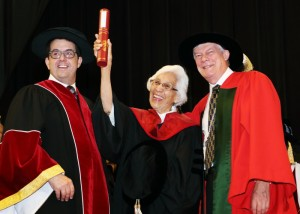 (L-R) Saint Mary's Chancellor Robert P. Kelly, Elder Isabelle Toney-Shay Knockwood and University President Dr. Coin Dodds. Photo provided by Saint Mary's University