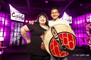 Candy Palmater, host of The Candy Show with guest Wab Kinew. Photo by Stoo Metz