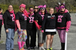 All pink and ready to run or walk. From left is Chasity Jeddore, Starr Paul, Kara Paul, Khea Paul, Jeanine Marshall, Sasheen Gould and organizer of the run, Sherise Gould.