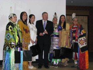Our Mi'kmaq Ambassadors as they received their only formal recognition and appreciation by the Province of Nova Scotia. Premier Dexter acknowledged their Performance of Excellence in representing Nova Scotia. (L-R) Mary Ann Martin-Millbrook, Michelle Bernard -Wagmatcook, Samantha Francis – Pictou Landing, Former Premier of Nova Scotia; Darryl Dexter, Courtney Pennell – Acadia, Mallory Clair – Eskasoni and Ashley Julian- Indian Brook.