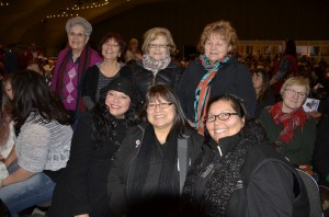 The Mi'kmawey Debert Cultural Centre IRS (Indian Residential School) Legacy Project sent a delegation of Survivors and Descendants to the TRC Alberta National Event in Edmonton on March 27th - 30th, 2014. (Sitting L-R) Shannon Googoo, Dorene Bernard and Sheila Pierro. (Standing L-R) Sister Dorothy Moore, Carol Johnson, Mary Ellen Googoo and Phyllis Googoo.