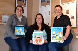 (L-R) Yolanda Denny, Mi'kmaw Language Consultant, Blaire Gould, Mi'kmaw Language Coordinator, Janice Ciavaglia, Literacy Consultant.