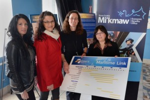 Participating in the Mi'kmaw community information Session in Millbrook on Mar. 18, 2014, were (L-R) Melanie Sack, Program Manager with Native Friendship Center, Andrea Kingham, Training Coordinator with MEBO in their Halifax office, Virginia Soehl, Aboriginal Engagement Lead with Emera Newfoundland-Labrador and Valerie Bowers, Executive Director of the Mi'kmaq Employment-Training Secretariat (METS). Photo by Owen Fitzgerald