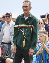 (L-R) Pat Muise and grandson Brody at the Bay St. George Powwow.