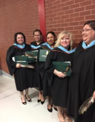 (L-R) Velvet Paul, Charlene Francis, Jo-Anne Julian, Natale Gloade & Helena Sack graduated from CBU with Education Degree.