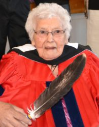 Elsie Basque receiving an honourary doctorate from Acadia University.