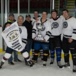 Membertou Sr. B Team Veterans take the Cup (L-R) Bryan Brooks, Stephen A. Marshall, Chief Bob Gloade, Chris Kabatay, Leon Paul, Ryan Ginnish and Tuma Stevens. Photo by Nigel Gloade